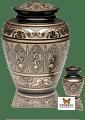 Black & Golden Brass Hand-Etched Cremation Urn