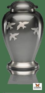 Avondale Brass Urn with Bird in Flight in Beautiful Slate