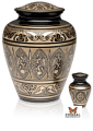 Black & Golden Brass Hand-Etched Cremation Urn