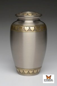 Brass Urn in Brushed Pewter Finish with Golden Brass Hearts