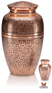 Copper Cremation Urn with Oak Design